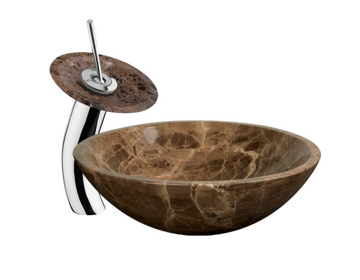 Faucet Vessel Sink : Stone Vessel Sink Waterfall Faucet DLFHD-711 Combo