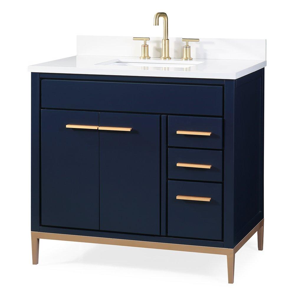 "36"" tobak bathroom vanity in navy blue finish with cream"