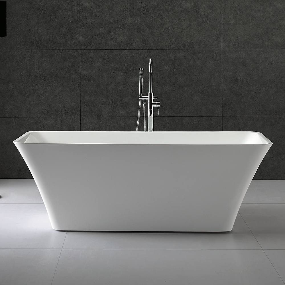 tiffany 59 inch small acrylic modern soaking bathtub by