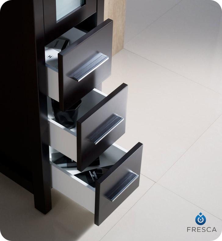 Fresca Torino Espresso Tall Bathroom Linen Side Cabinet - Fresca torino white tall bathroom linen side cabinet
