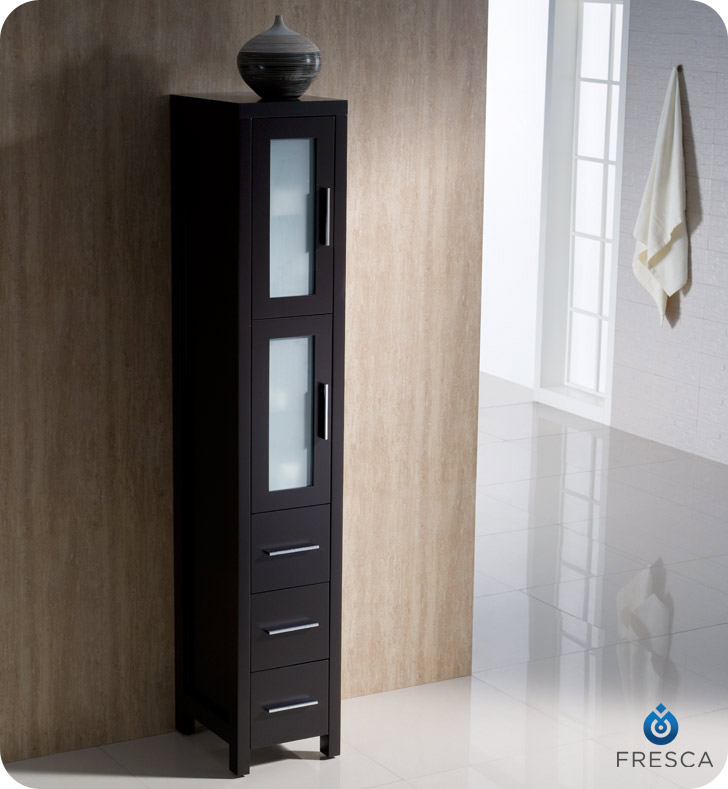 fresca torino espresso tall bathroom linen side cabinet rh listvanities com