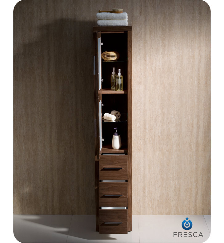 bathroom linen side cabinet fresca torino walnut bathroom linen side cabinet 11538