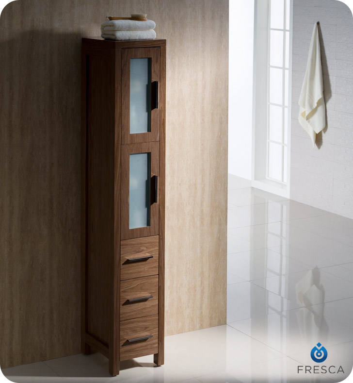 Torino Walnut Tall Bathroom Linen Side Cabinet