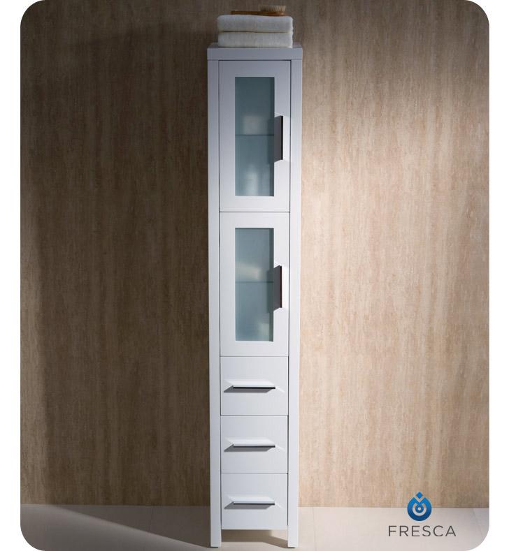 bathroom vanity linen cabinet sets white tall side fresca torino antique