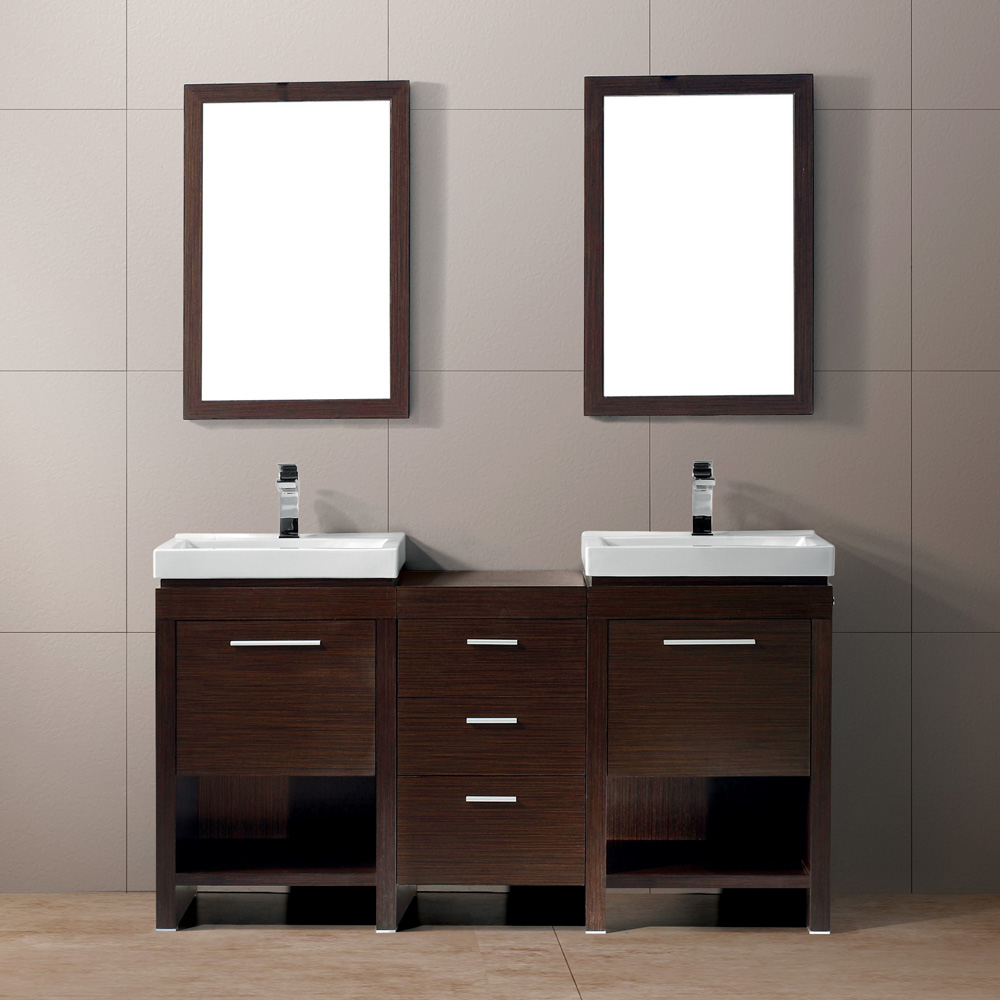 Vigo adonia bathroom vanities set vigo adonia vanity set with a double sink and mirror - Bath vanities for small spaces set ...