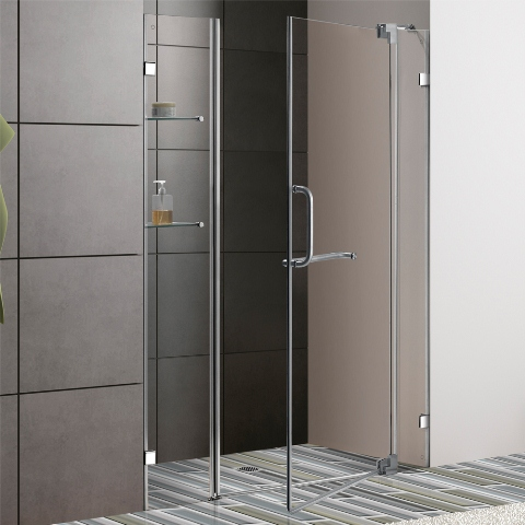 Vigo 48 Inch Frameless Shower Door Chrome Finish