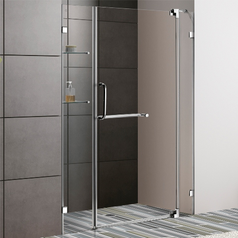 Vigo 54 Inch Frameless Shower Door Chrome Finish