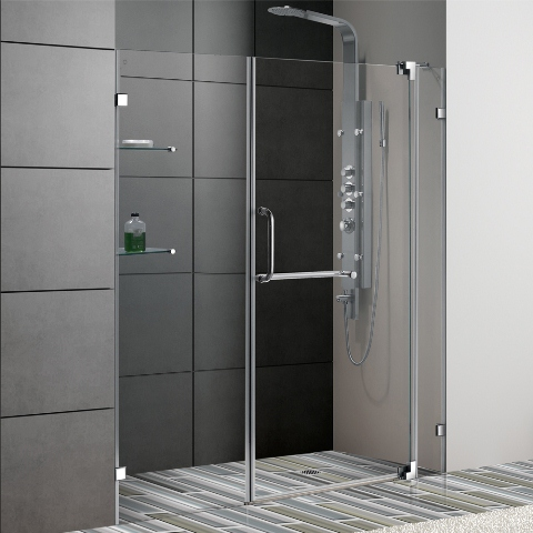 Vigo 60 inch frameless shower door chrome finish planetlyrics Image collections