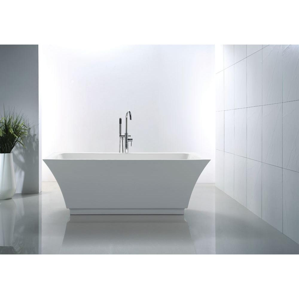 Virtu serenity 67 inch white free standing soaking bathtub for Free standing soaking tub