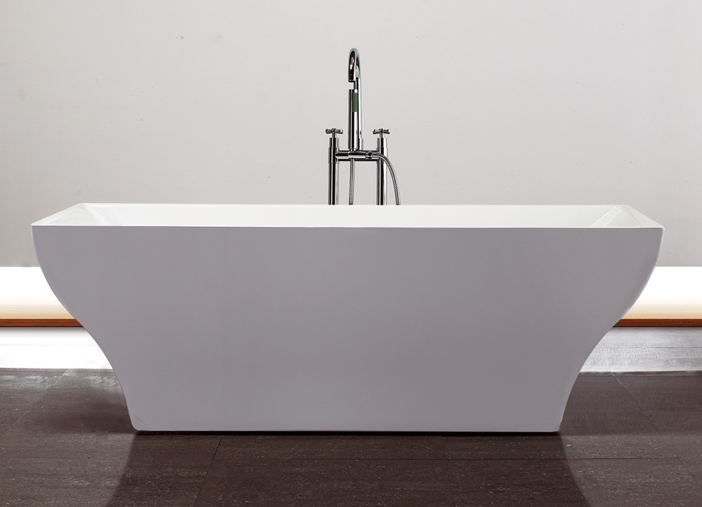 Virtu Serenity 71 inch White Free Standing Soaking Bathroom Tub with ...