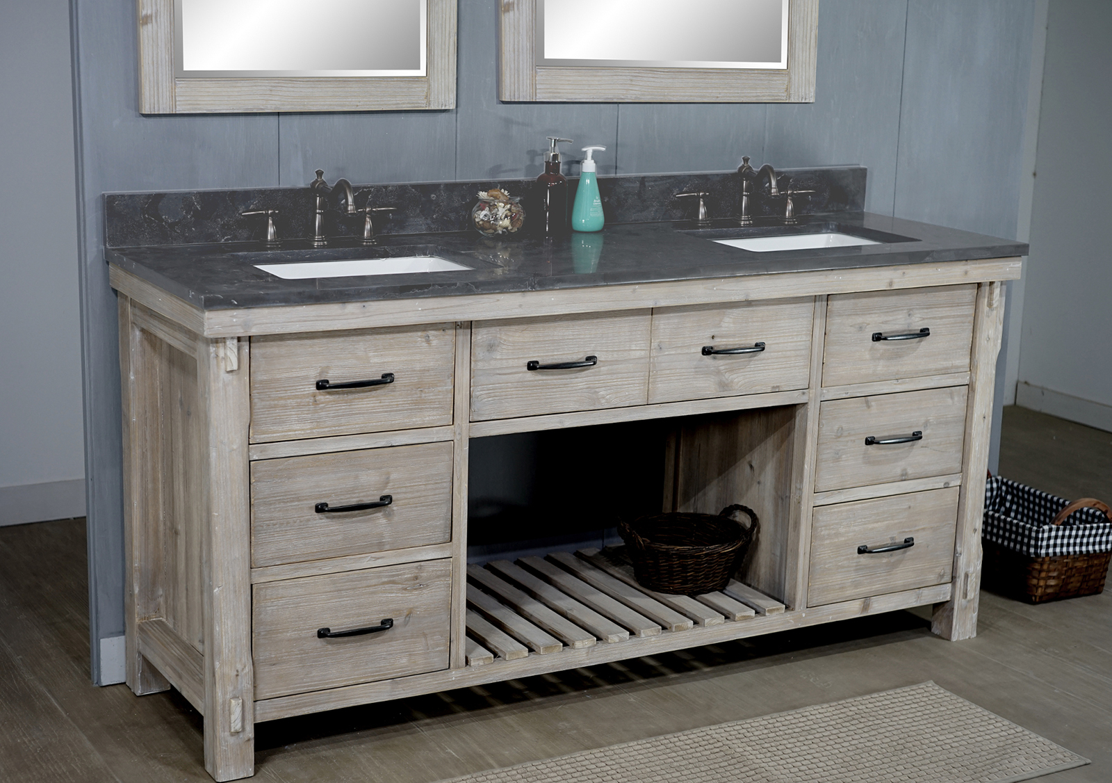 72 Quot Rustic Solid Fir Double Sink Vanity With Rectangular