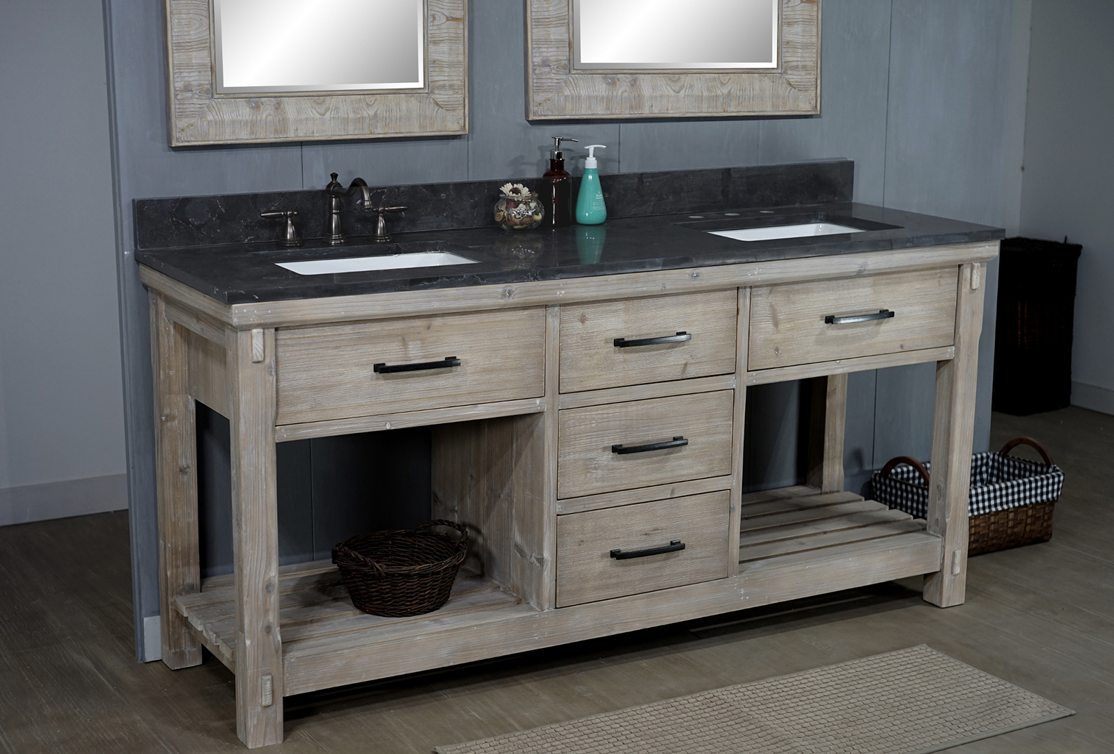 "72"" Rustic Solid Fir Double Sink Vanity with Limestone Top ..."