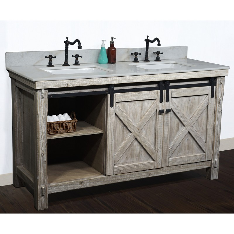 60 Inch Rustic Solid Fir Barn Door Style Double Sinks Vanity With Top Options Driftwood Finish