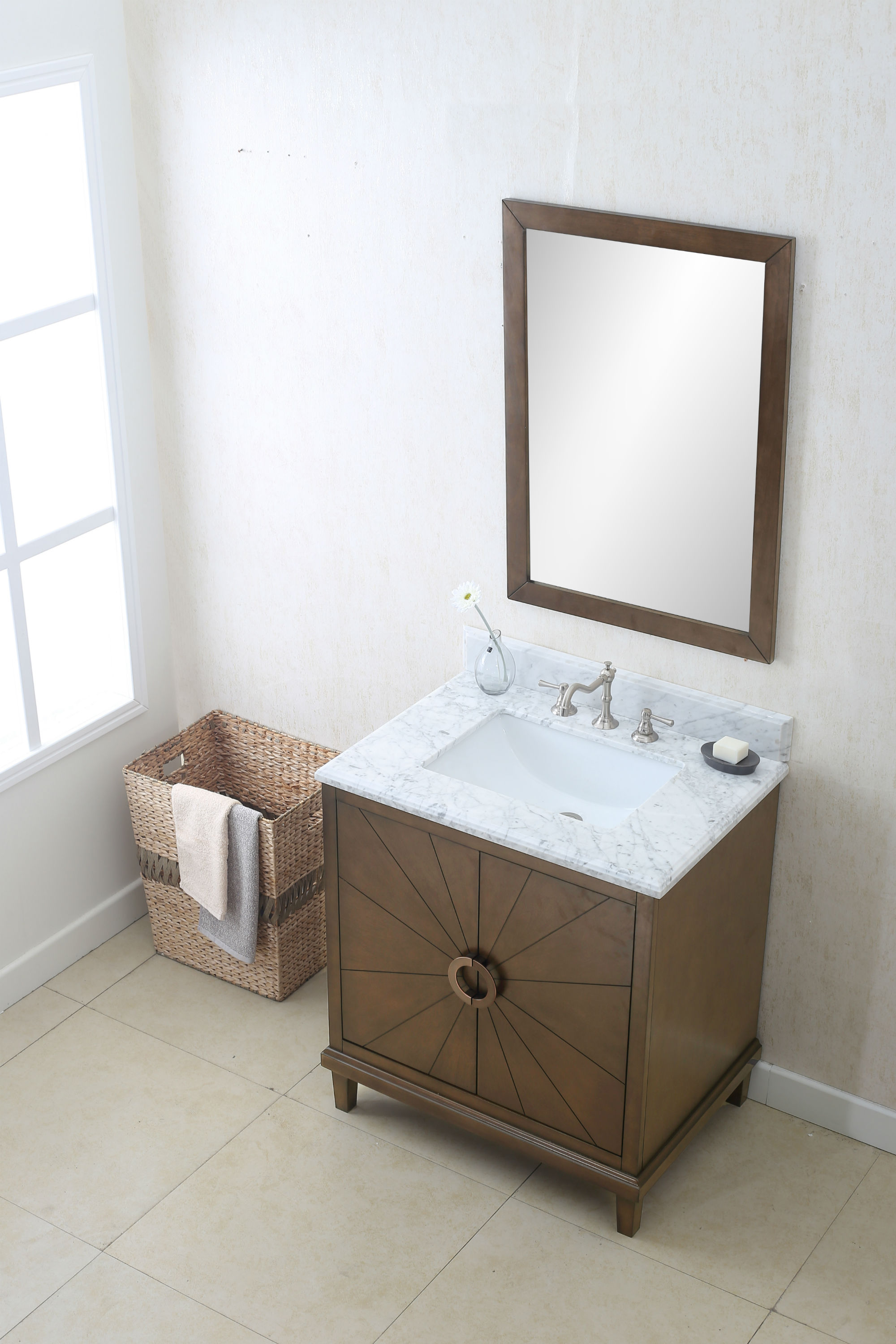 30 inch Designer Modern Antique Coffee Finish Vanity with Carrera Marble Top