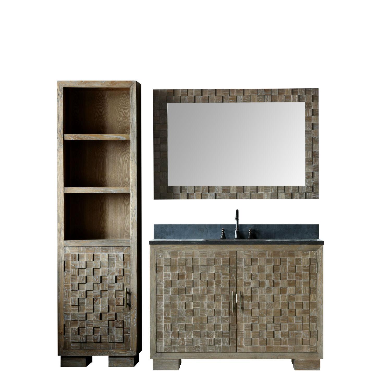 48 inch Distressed Wood Bathroom Vanity Cabinet