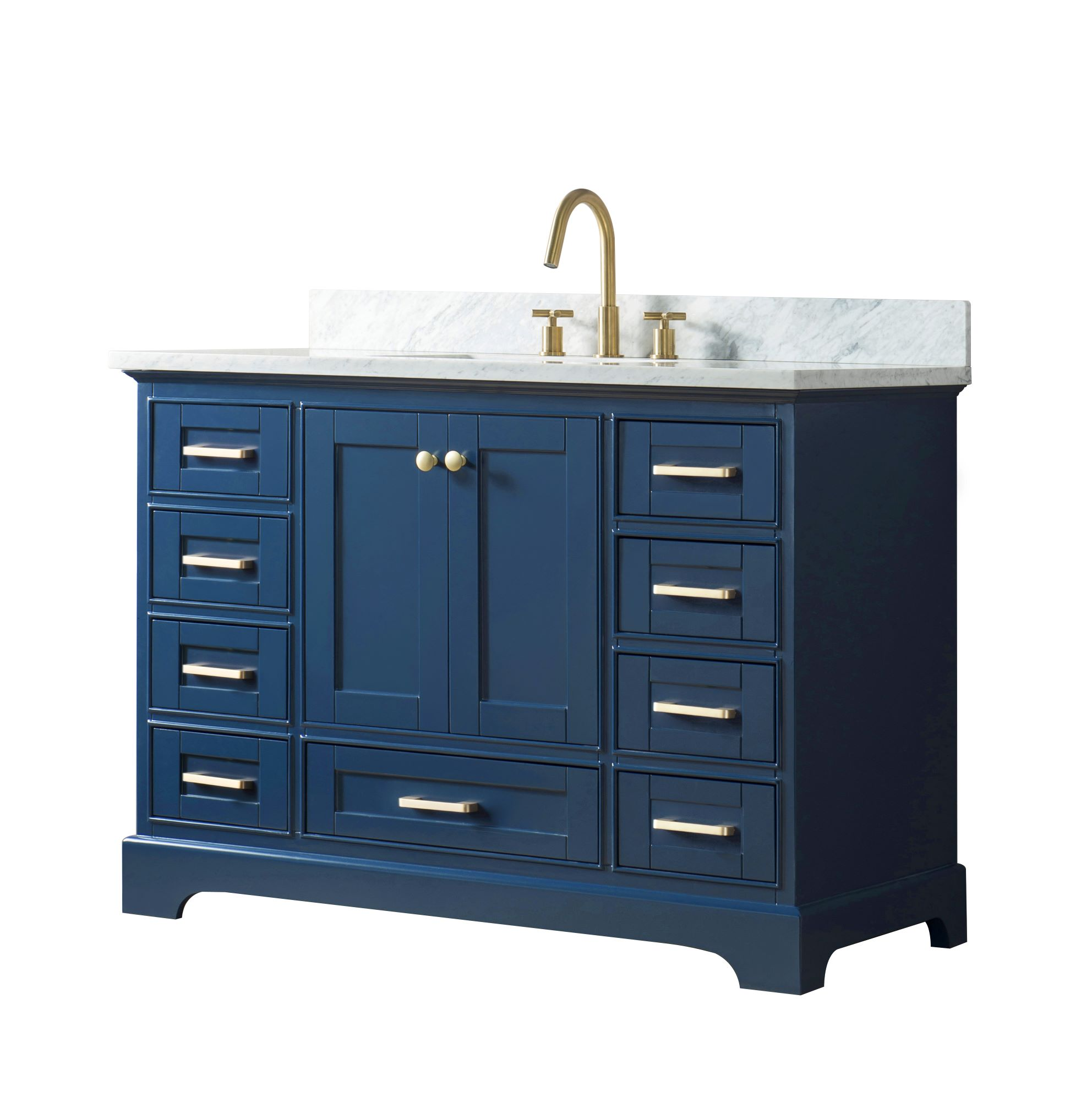 """48"""" single sink bathroom vanity in blue finish with"""
