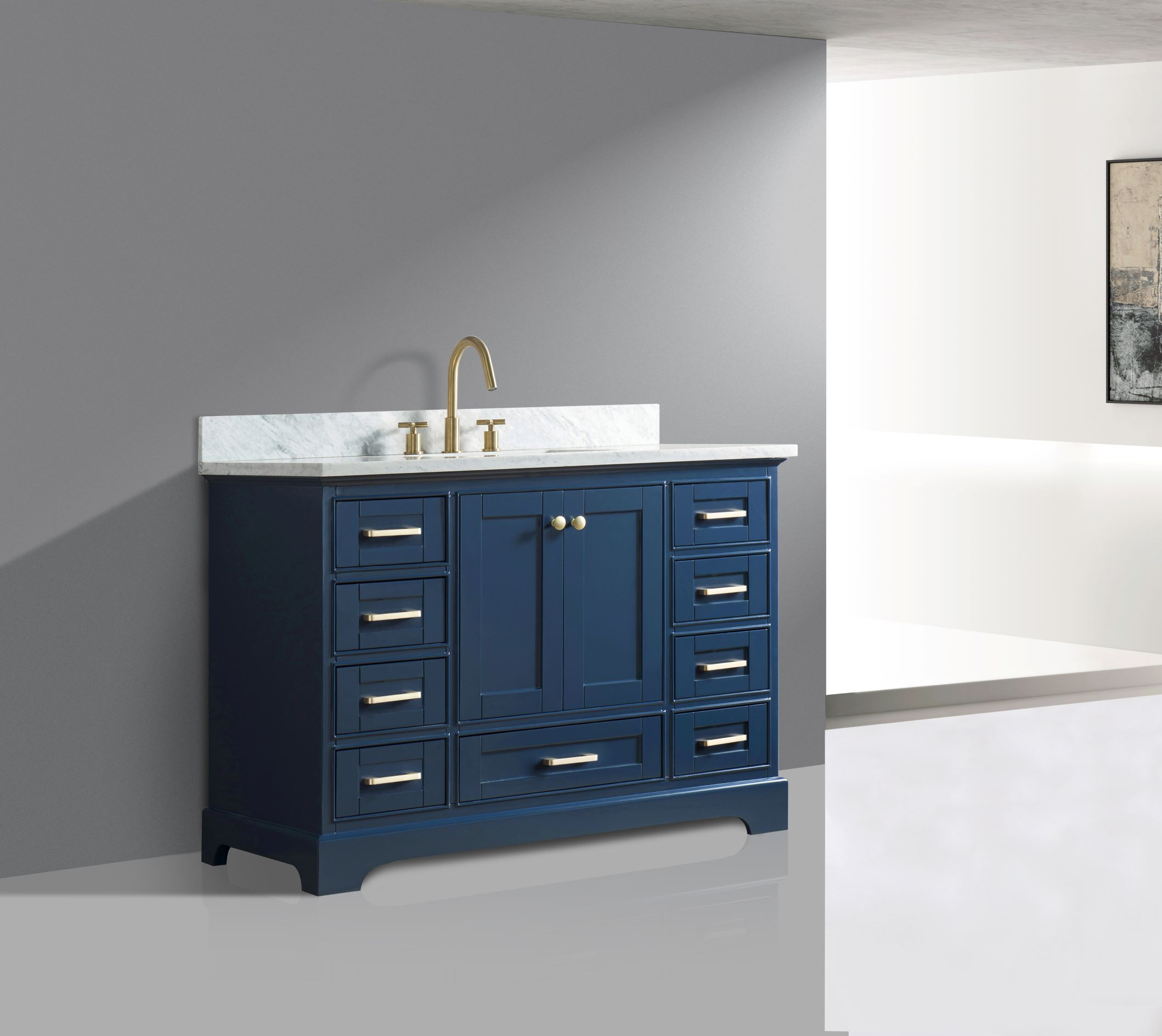 48 Quot Single Sink Bathroom Vanity In Blue Finish With Carrara White Marble Top