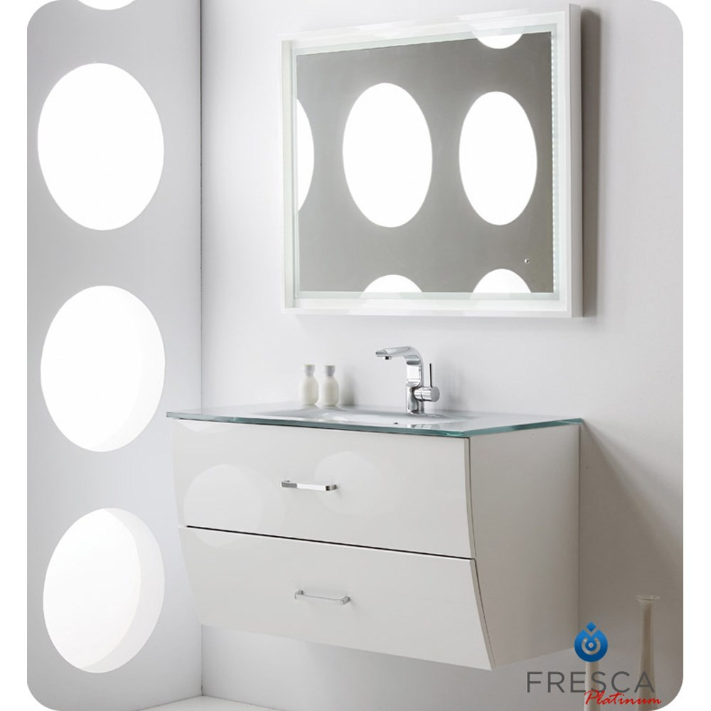 Wave 40 Inch Glossy White Modern Bathroom Vanity Wall Mounted
