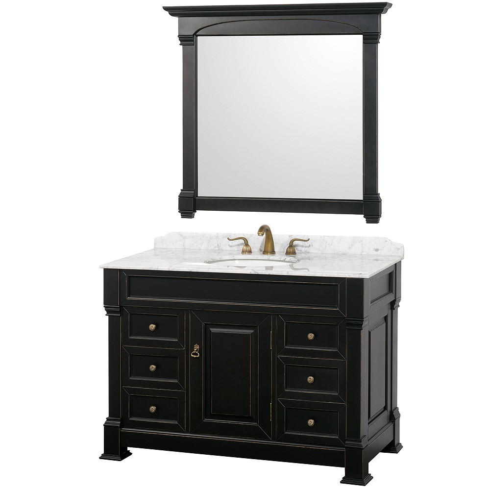 Wyndham collection andover 48 bathroom vanity black finish for Black and white bathroom vanity