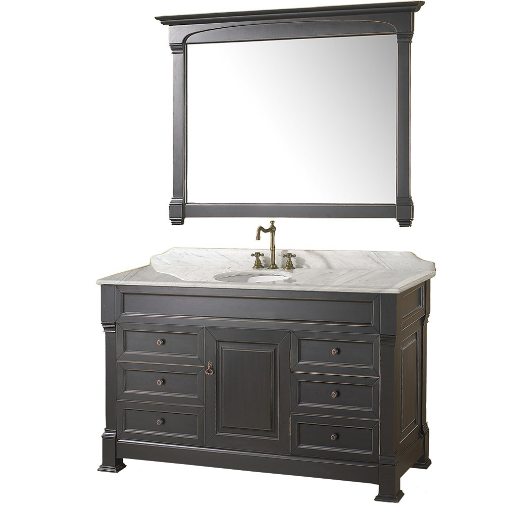 55 inch Bathroom Vanity Antique Black Finish Solid Marble Counter. Wyndham Collection Andover 55 quot  Bathroom Vanity Black Finish