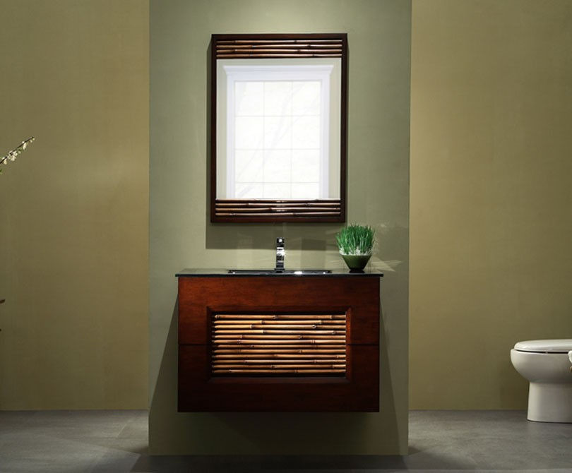 modern 36 inch bambu wall mounted bathroom vanity