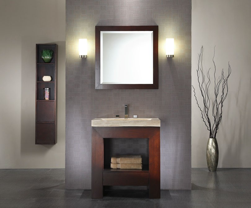 york bathroom westchester walnut contemporary new image storage traditional with beige sconce by vanity wall glass leicht