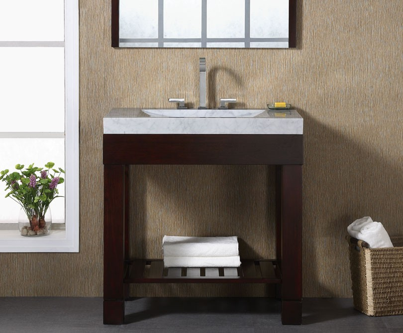 Indus 24 inch dark walnut modern bathroom vanity solid for Modern contemporary bathroom vanities