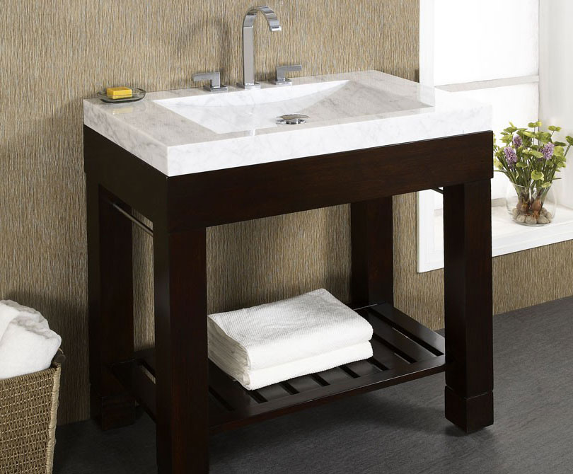 Contemporary Bathroom Vanities 36 Inch europa 36 inch dark walnut modern bathroom vanity, solid poplar