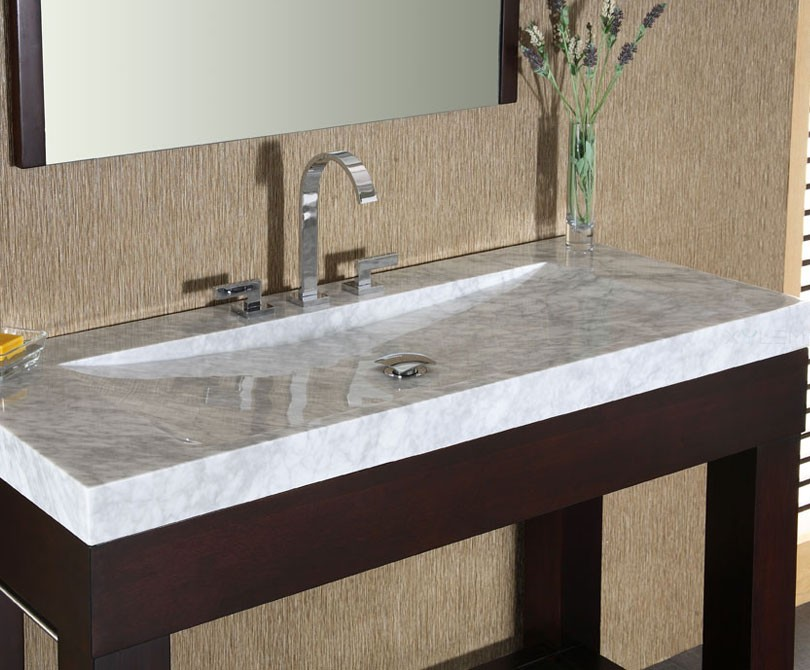 Stone Vanity Tops For Bathrooms : Indus inch dark walnut modern bathroom vanity