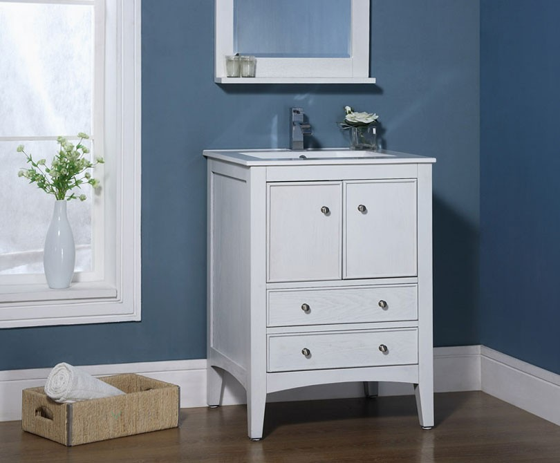 Xylem Kent 24 quot  Traditional Bathroom Vanity Whitewash Finish. Kent 24 inch Traditional Bathroom Vanity Whitewash Finish