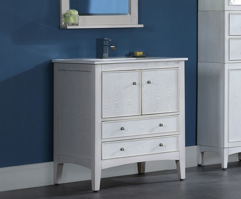 kent 30 inch traditional bathroom vanity whitewash finish