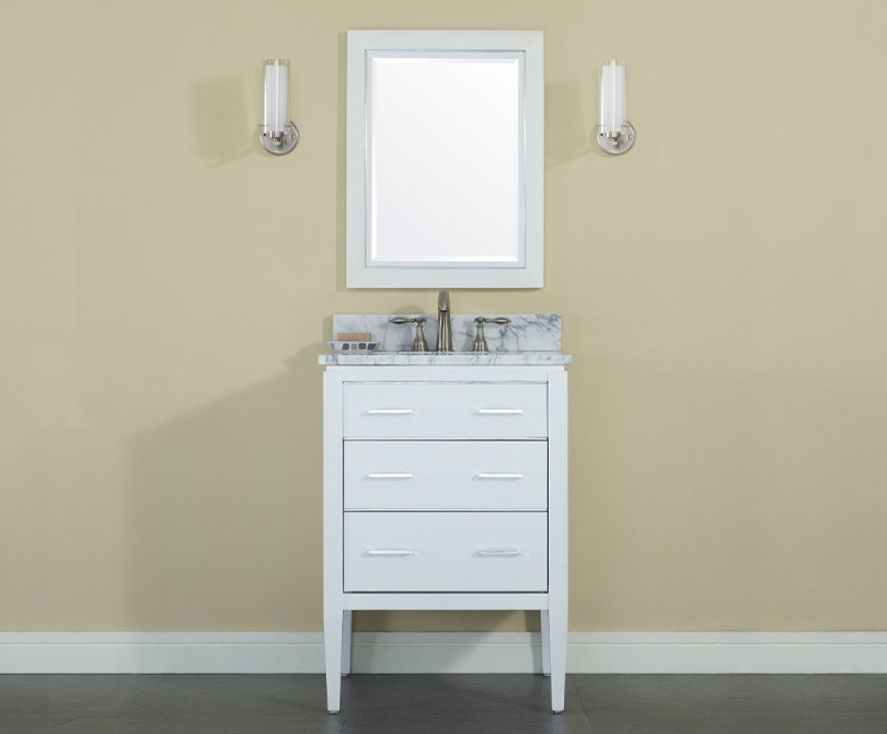 24 White Bathroom Vanity manhattan 24 inch contemporary bathroom vanity white finish