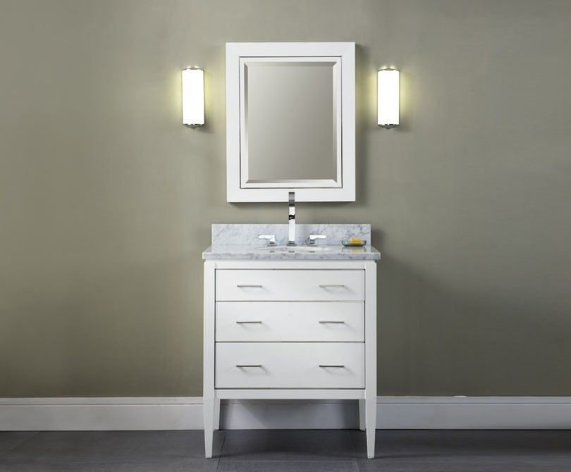 Manhattan 30 inch contemporary bathroom vanity white finish for Bathroom 30 inch vanity