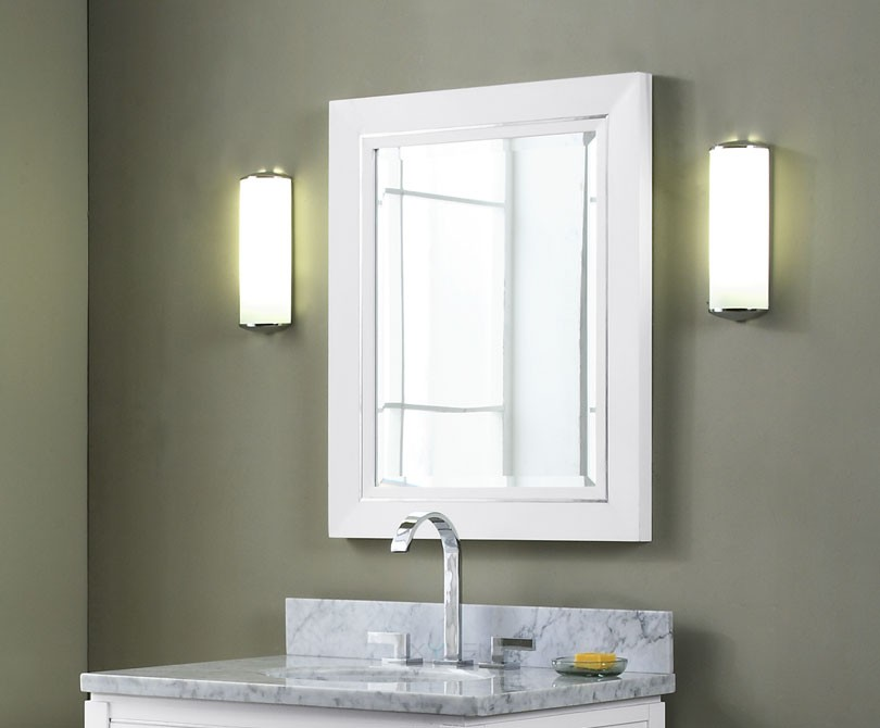 Manhattan 30 inch contemporary bathroom vanity white finish for Bathroom vanity mirrors