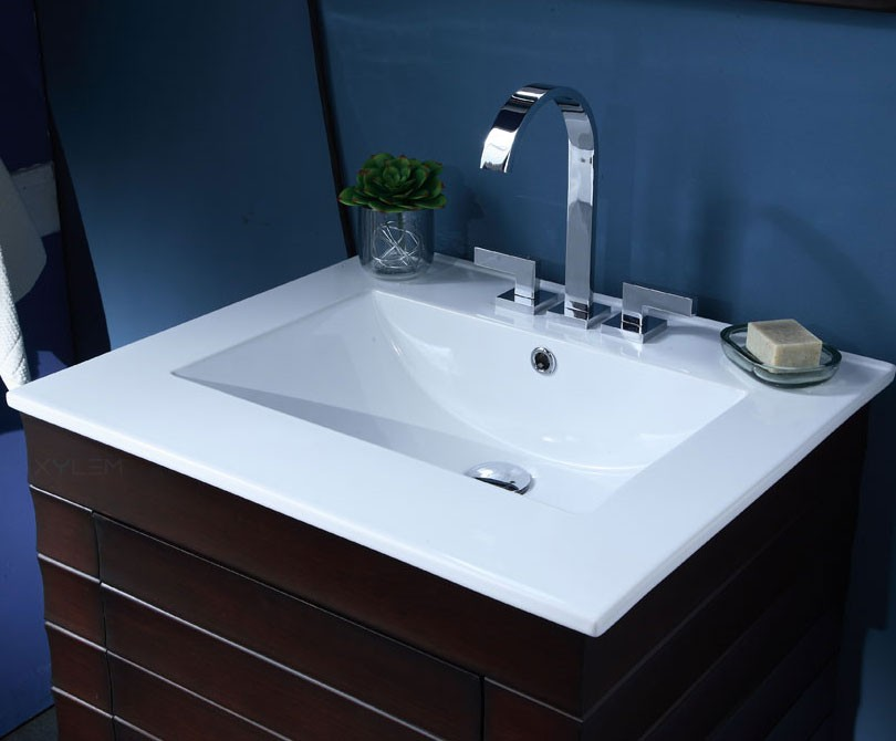 Wave 24 Inch Contemporary Bathroom Vanity Vitreous China Vanity Top