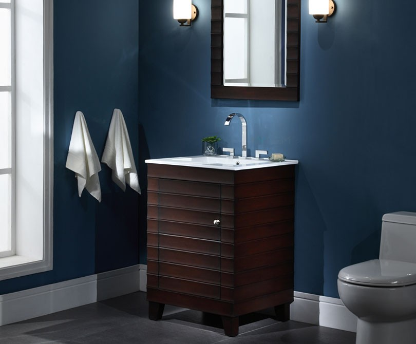 Wave 24 inch contemporary bathroom vanity vitreous china for Bathroom 24 inch vanity