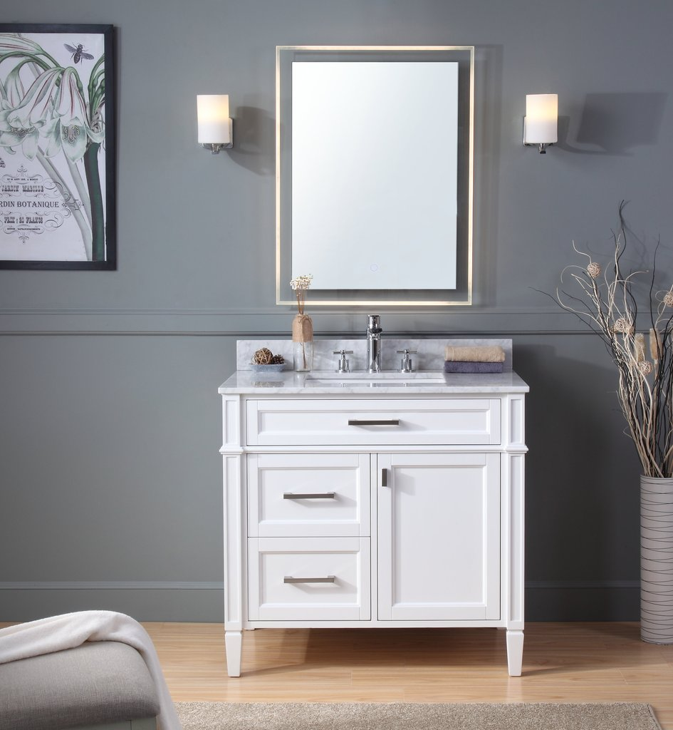 Modern 36 Quot Tennant Brand Durand Bathroom Sink Vanity With Backsplash And Color Options