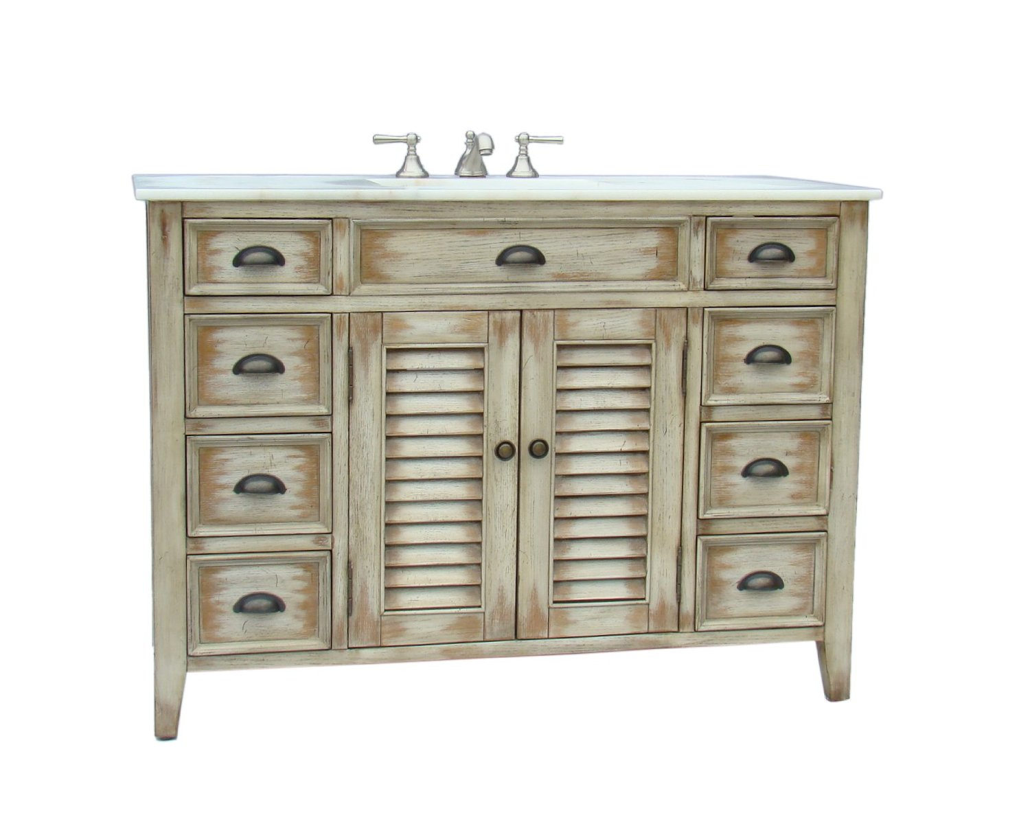 Adelina 46 Inch Cottage Bath Vanity Marble Top
