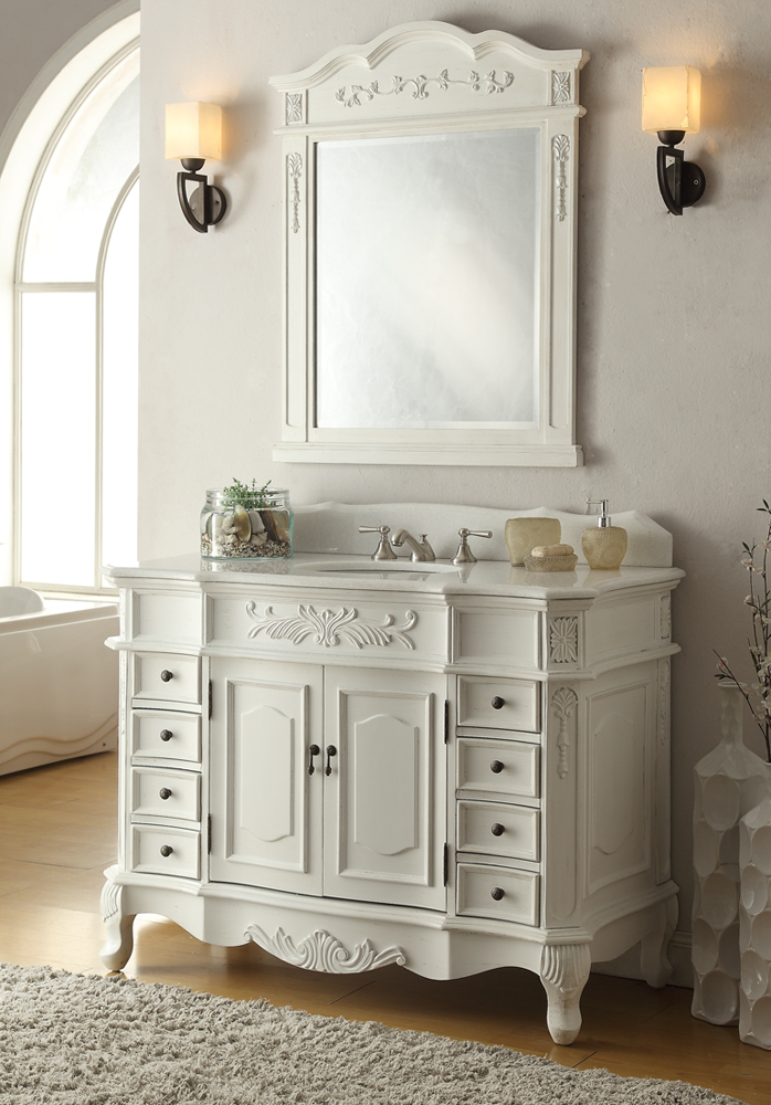 adelina 48 inch antique white bathroom vanity, fully assembled