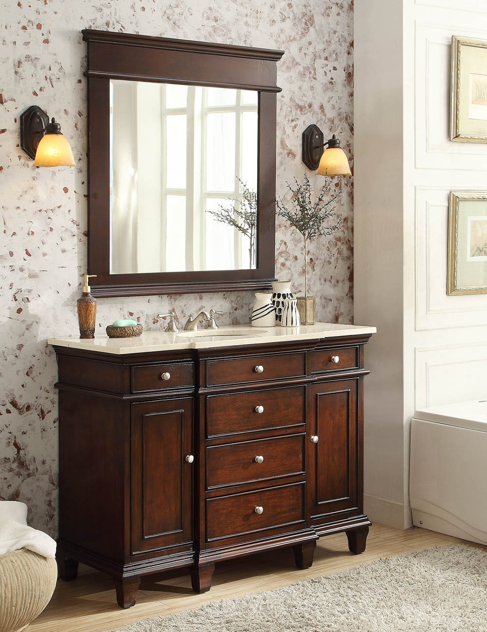 48 Inch Bathroom Vanity Cream Marble Top