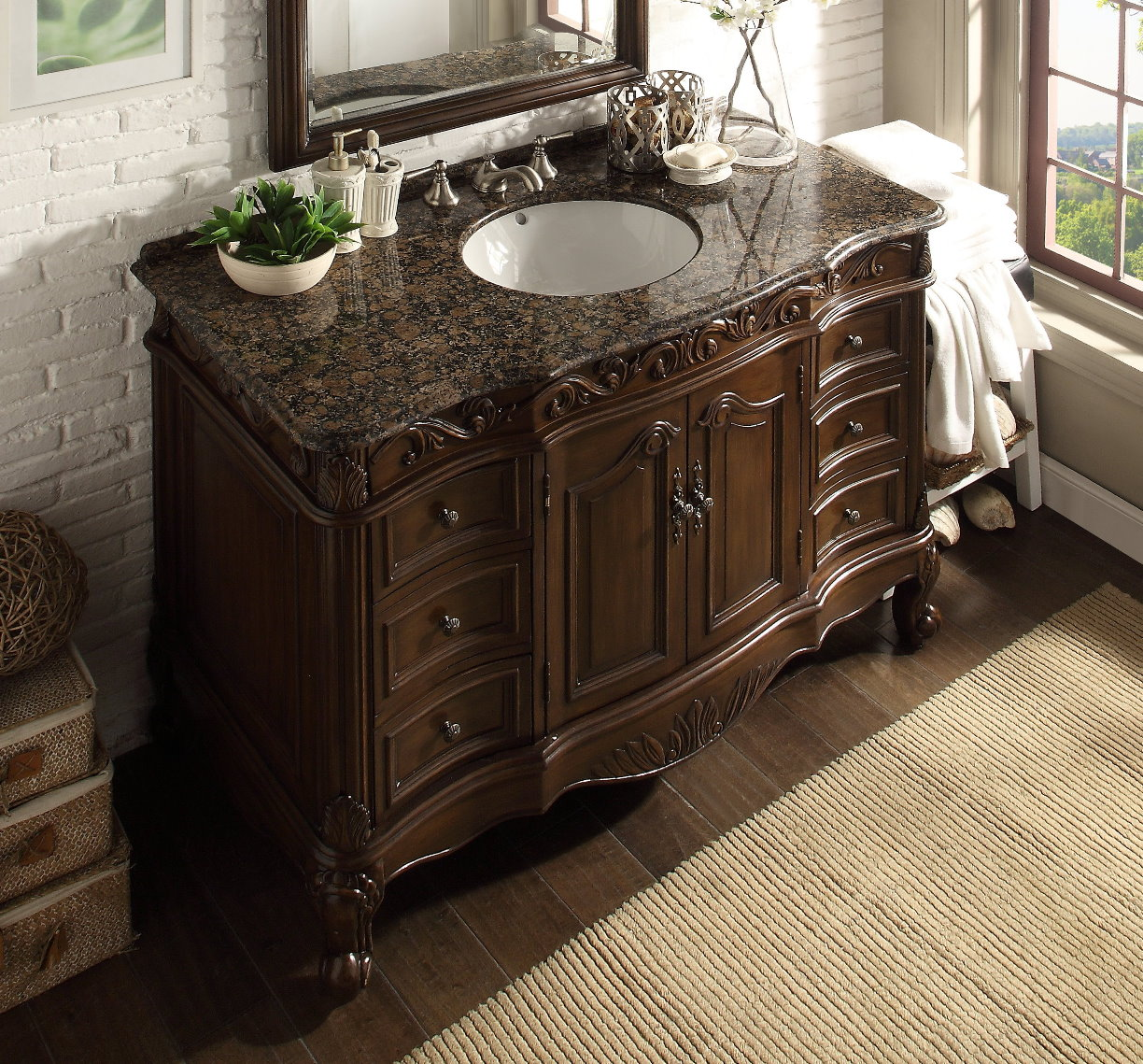 ... Adelina 48 Inch Classic Old Look Bathroom Vanity Granite Top