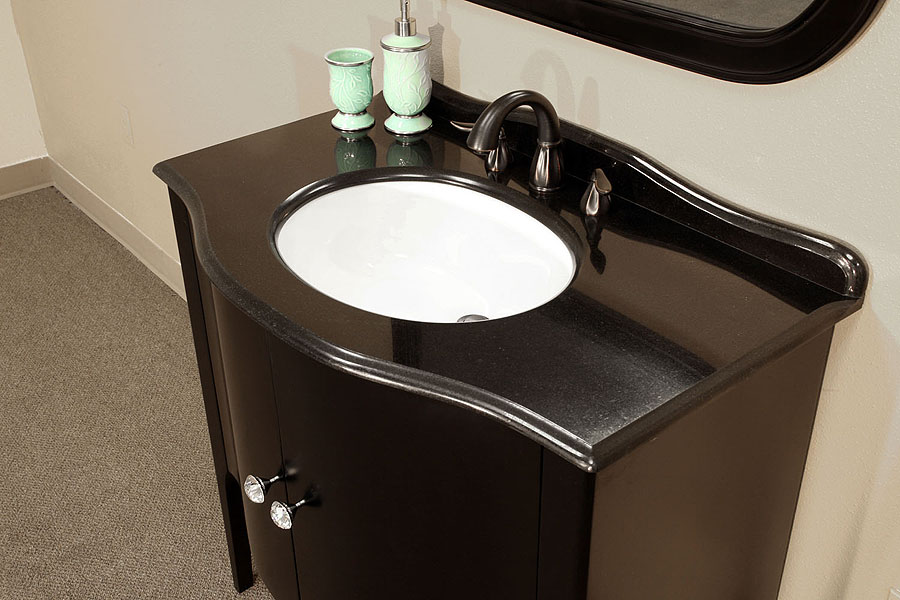 Bellaterra Home 203037 Black Bathroom Vanity Black Granite Countertop