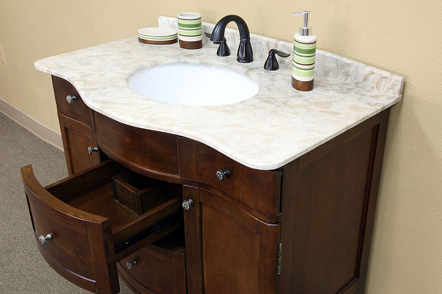 bellaterra home 203045 bathroom vanity, cream marble countertop