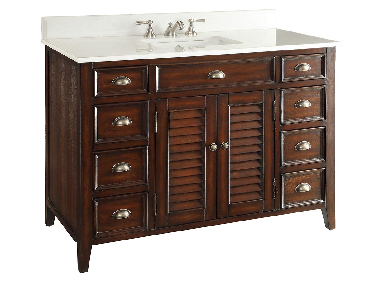 46 Distressed Single Sink Bathroom Vanity With Crystal White Marble Counter Top