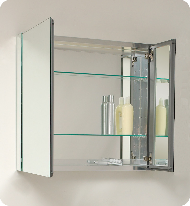Fresca 30 inch wide bathroom medicine cabinet with mirrors for Bathroom cabinet 8 inches wide
