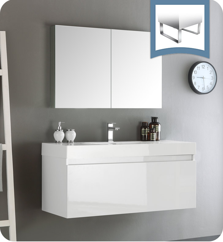 Fresca Mezzo 48  White Wall Hung Modern Bathroom Vanity with Faucet Medicine Cabinet and Linen Side Cabinet Option & Fresca Mezzo 48