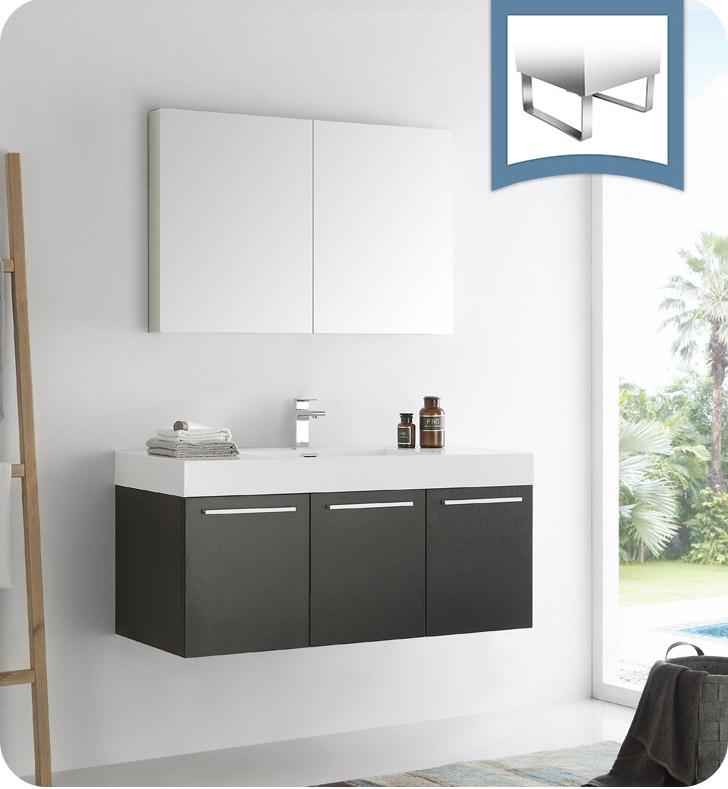 Fresca Vista 48 Black Wall Hung Modern Bathroom Vanity With