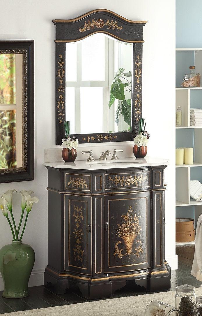 Adelina 36 Inch Antique Hand Painted Vintage Black Finish Bathroom Vanity