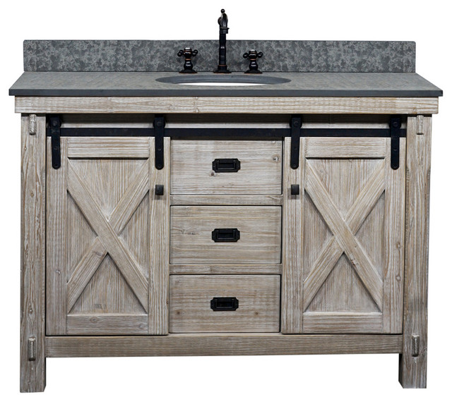 48 Inch Rustic Solid Fir Barn Door Style Double Sinks Vanity With Top Options Driftwood Finish Or White Wash