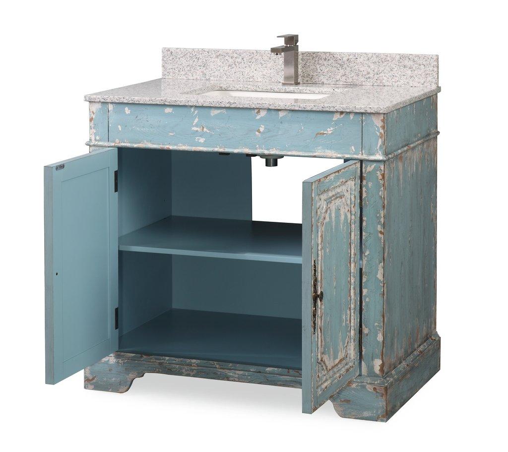 Adelina 36 Benton Collection Litchfield Distressed Rustic Light Blue Beach Style Bathroom Vanity